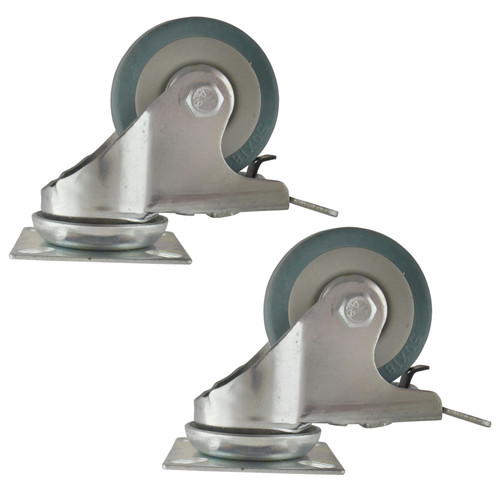 "2"" (50mm) Braked Castors Swivel 2PK Rubber 50kg Trolley Dolly Wheel Caster"