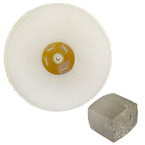 """Coarse Sisal Fast Cut Buffing Polishing Mop 10"""" x 1.5"""" 3 Row With Compound 250g"""
