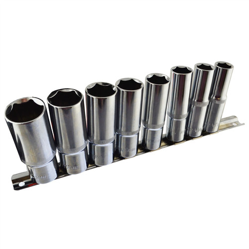 "1/2"" Drive Deep Metric Sockets 13mm - 24mm 6 sided on Rail 8pc By Bergen AU054"
