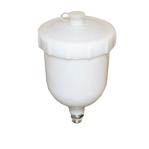 "Gravity Feed Spray Paint Plastic Paint Cup Pot 600ml Capacity 3/8"" Male Thread"