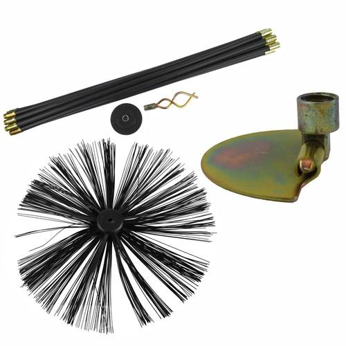 400mm Chimney Sweeping Brush & 9m Drain Rod Plunger Worm Screw & Scraper