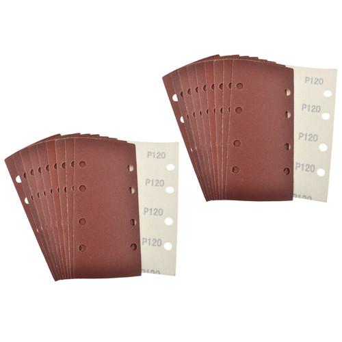 Hook/Loop 1/3 Sheet Sanding Sander Sandpaper Pads 20 Pack 120 Grit