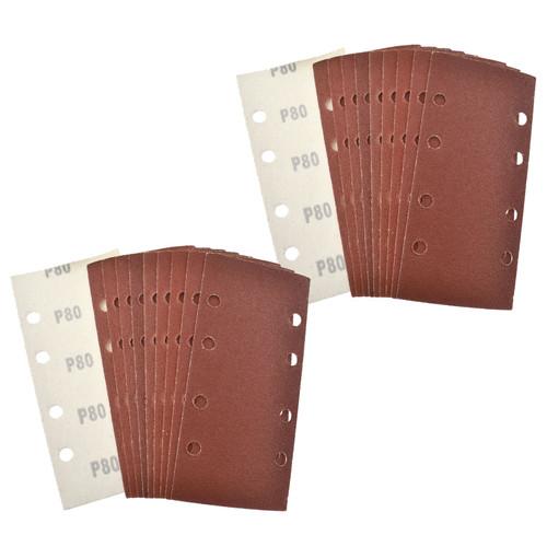 Hook/Loop 1/3 Sheet Sanding Sander Sandpaper Pads 20 Pack 80 Grit
