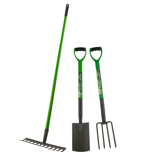 Garden Border Fork Spade Rake Soil Gardeners Carbon Steel PVC Handles Strong
