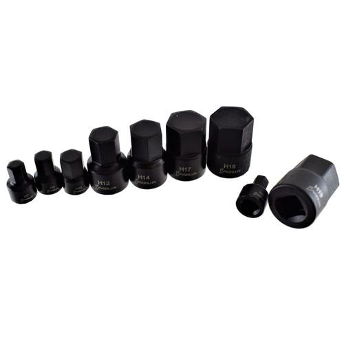 """Metric Male Stubby Allen Hex Bit Sockets 1/4"""" 3/8"""" Drive 9pc 6mm - 19mm"""
