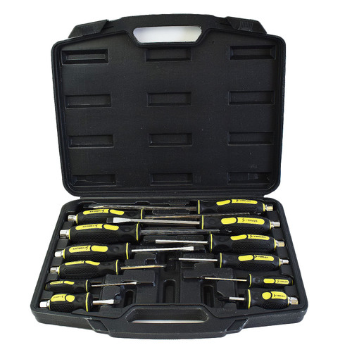 Phillips And Flat Slotted Headed Mechanic Screwdriver Set Hex Shank 12pc
