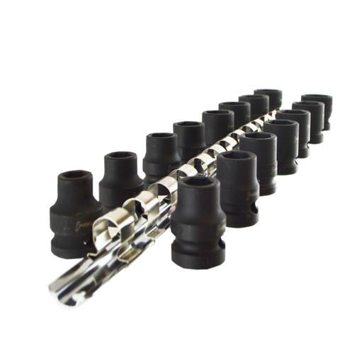"1/2"" Drive Stubby Metric Impact Sockets 6 Sided Single Hex 10mm - 24mm 15pc"