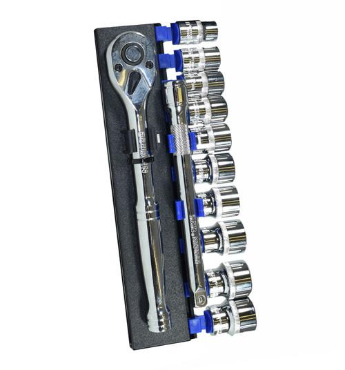 "3/8"" Drive Metric Shallow And Accessory Kit Set 10mm - 19mm 12pcs Bergen"