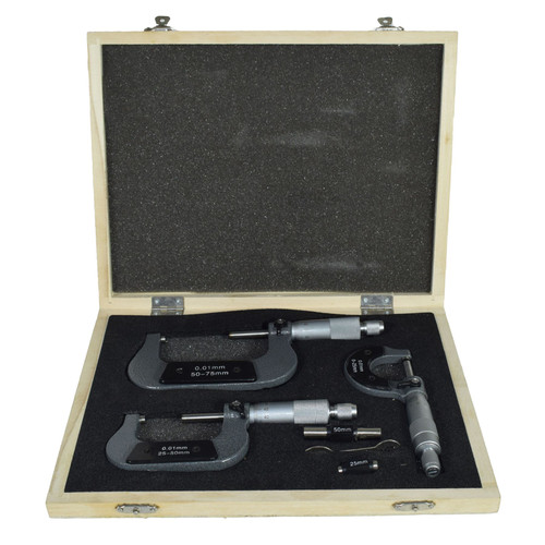 3pc Micrometer External Adjustable Metric Micrometer Carbide Anvils 0 - 75mm