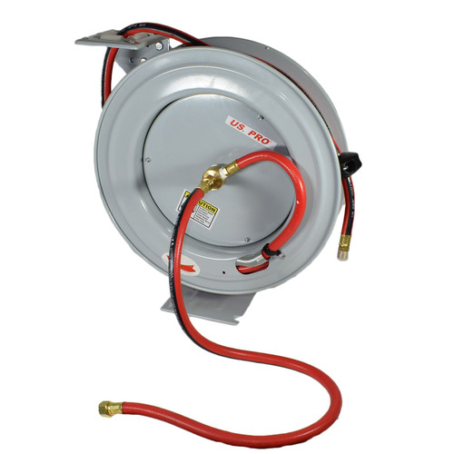 Retractable 50ft 15m Air hose on Reel 3/8 BSP Spring Rewind Wall Mountable
