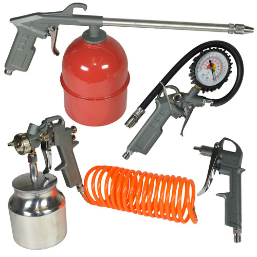Compressor Air Accessory Tool Kit Spraying Tyre Inflating Hose Blow Gun 5pc Set