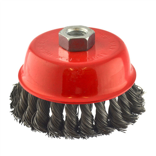 100mm Wire Twisted Knot Cup Brush M14 Thread For 4-1/2 Grinder Rust Removal