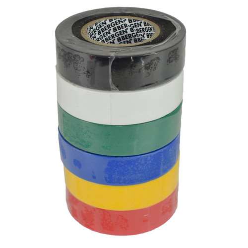 PVC Insulation Electrical Tape Mixed Colour 6 Reels Flame Retardant