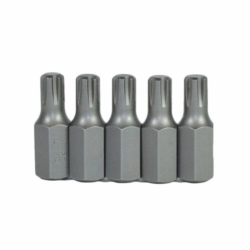 M7 Male Short (30mm) Ribe Bit 5 Pack With 10mm Hex End S2 Steel Bergen