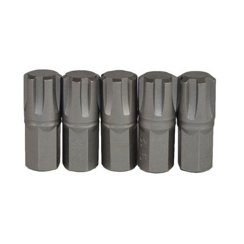 M12 Male Short (30mm) Ribe Bit 5 Pack With 10mm Hex End S2 Steel Bergen