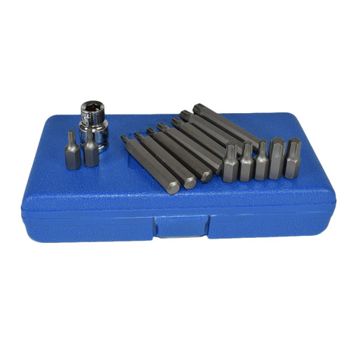 "1/2"" Drive Shallow And Deep Male Torx Star Bits T20 - T55 15pcs By Bergen"