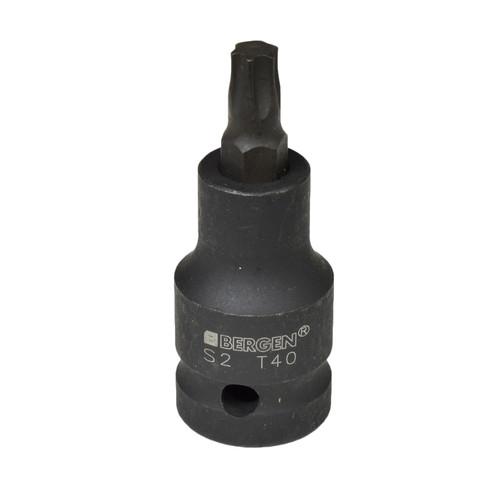 "T40 x 53mm 1/2"" Drive Short Impact Impacted Torx / Star Male Socket By Bergen"