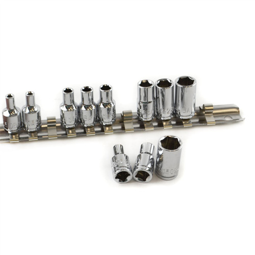 "11pc BA Sockets 1/4"" Dr BA0-BA10 & Socket Rail For Classic Cars Model Making"