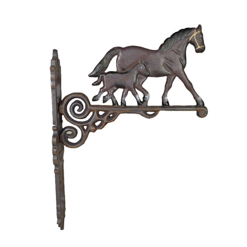 Horse / Mare & Foal Bell Farm Cast Iron Sign Plaque Door Wall Stable House Porch