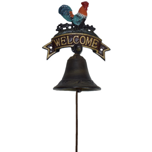 Cockerel Rooster Chicken Welcome Bell Cast Iron Sign Door Wall Gate House