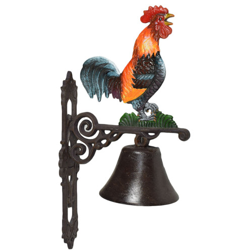 Cockerel Rooster Bell Cast Iron Sign Plaque Door Wall Fence Post Gate House