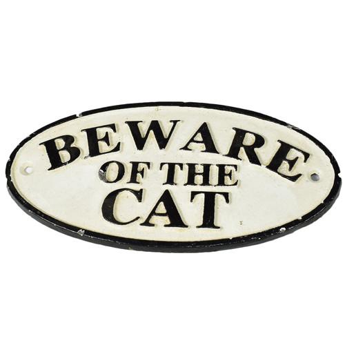Beware of Cat Cast Iron Sign Plaque Door Wall House Fence Gate Post Garden