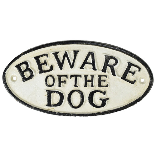 Beware of Dog Cast Iron Sign Plaque Door Wall House Fence Gate Post Garden