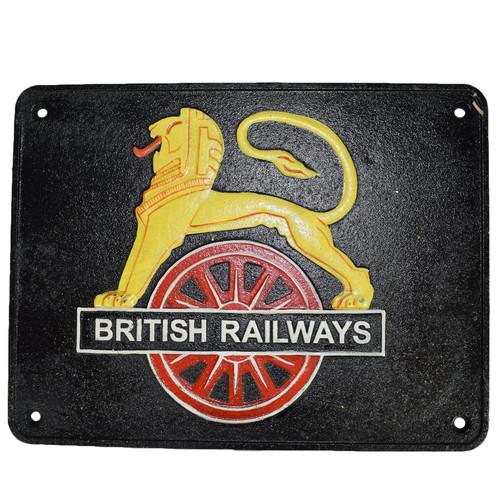 British Railway Lion Sign Cast Iron Sign Plaque Wall Fence Gate Train Locomotive