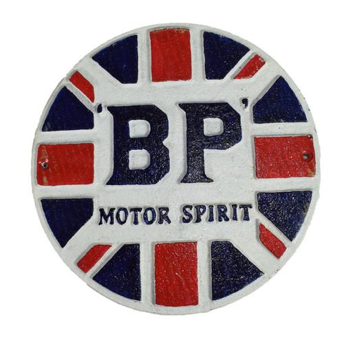 BP MotorSpirit Fuel Round Cast Iron Sign Plaque Wall Garage Petrol Workshop GB