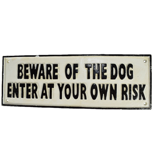 Beware of the Dog Cast Iron Sign Plaque Wall Fence Gate Post House Farm Home