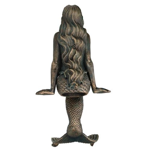 "16"" Mermaid Cast Iron Statue Figure Ornament Garden Water Pond Shelf Sitting"