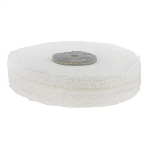 "White Close Stitched Polishing Buffing Mop 6"" x 1"" 2 Row With Compound 250g"