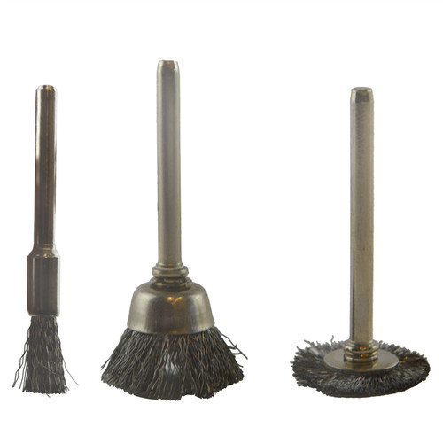 3pc Mini Rotary Steel Brush Metal Cleaning Polishing Set Suitable for Dremel