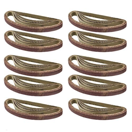 Belt Power Finger File Sander Abrasive Sanding Belts 330mm x 10mm 40 Grit 50pk