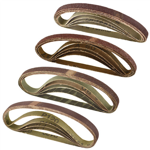 Belt Power File Sander Abrasive Sanding Belts 330mm x 10mm Mixed Grit 20pk