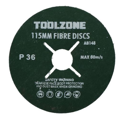 "50pc 115mm (4.5"") Fibre Discs 36 Grit Abrasive Sanding Disc Wood Metal Masonry"