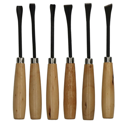 6pc Carving Chisel Wood Work Edging Sculpting Turning Carpentry Gouge Point