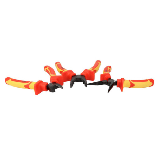 3pc VDE Plier Wire Cutter Long Nose Pliers Electrician Grips Insulated Soft Grip