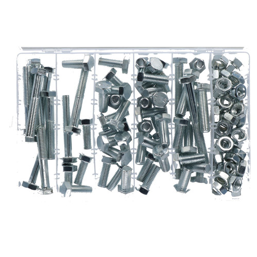 100pc M12 12mm Bolts Bolt with Nuts Assortment 30 - 100mm Hex Head