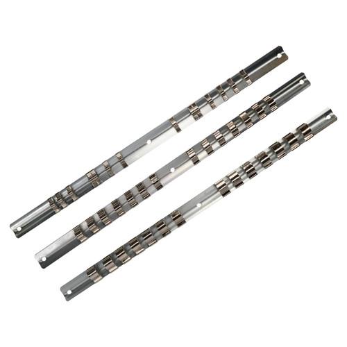 3pc Socket Storage Holder Organiser Rails For 1/4, 3/8 and 1/2 Sockets 42 Clips