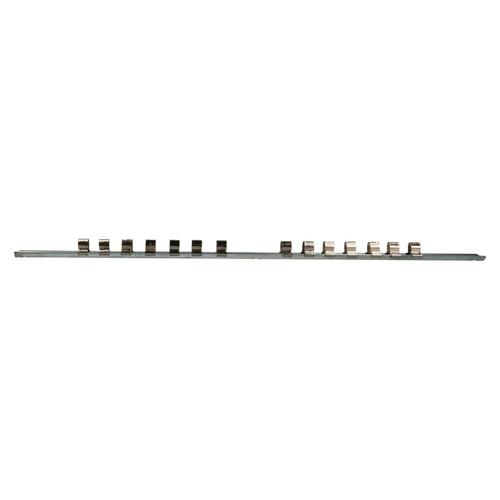 15pc Socket Storage Holder Organiser Rails For 1/4, 3/8, 1/2 Sockets 210 Clips