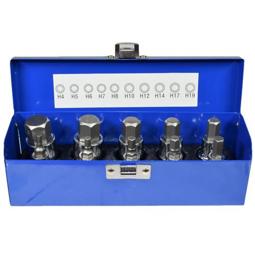 "1/2"" drive Hex / Allen key bit socket set metric sizes 4mm - 19mm AT659"