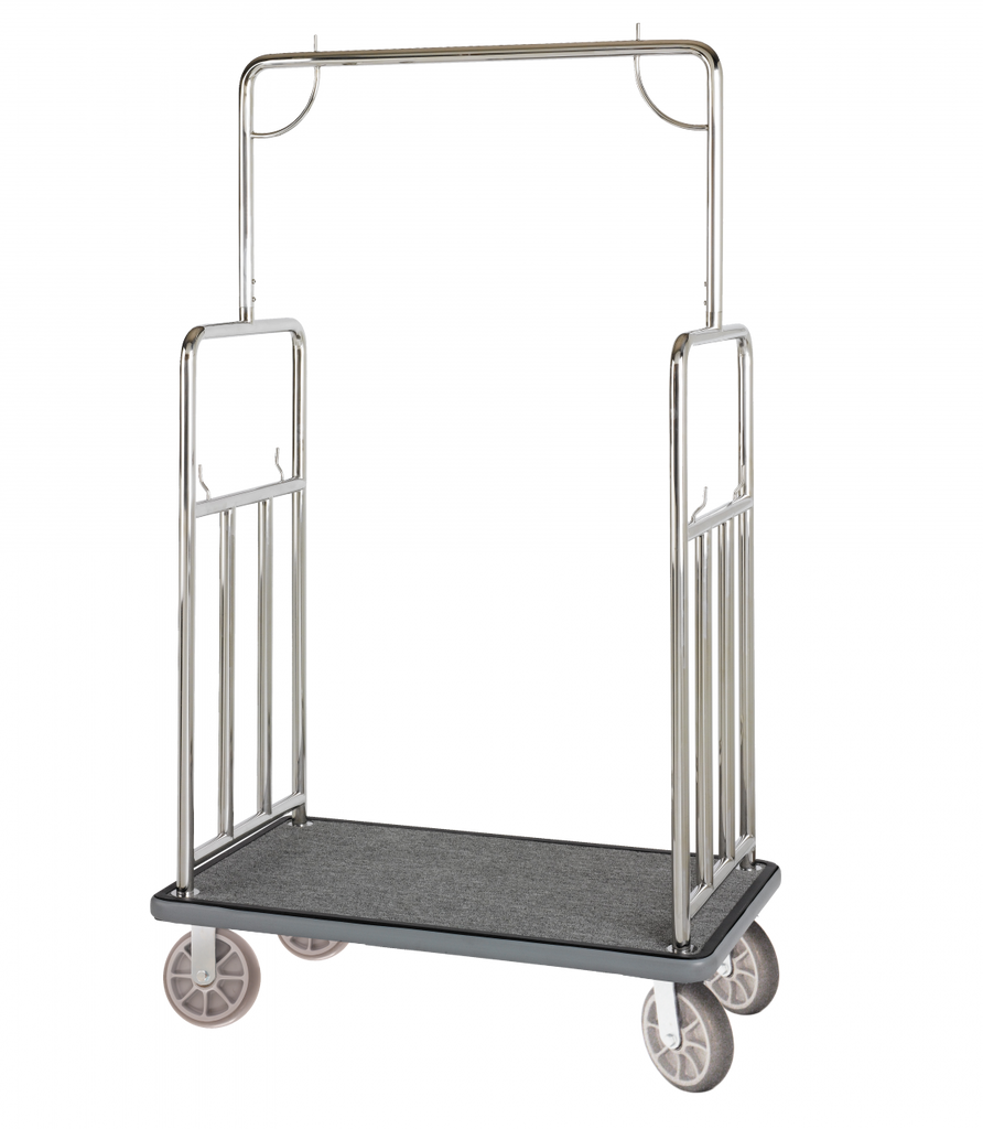 Elite Valet Bellman's Cart- Stainless Steel Finish- Wholesale Hotel Products