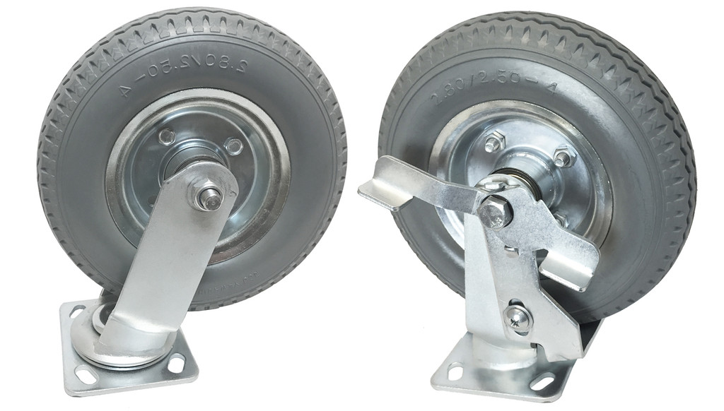 "8"" no-flat (soft rubber) wheel with brake"