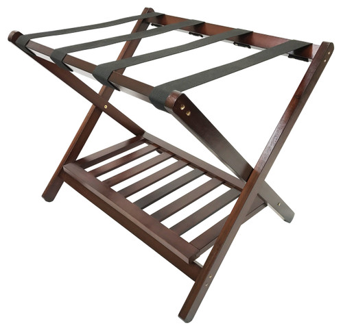 Deluxe Wood Luggage Rack with Shoe Shelf