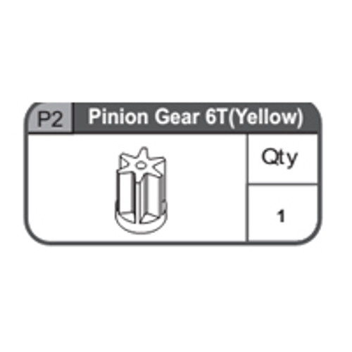 02-67400P2 Pinion Gear 6T (Yellow)