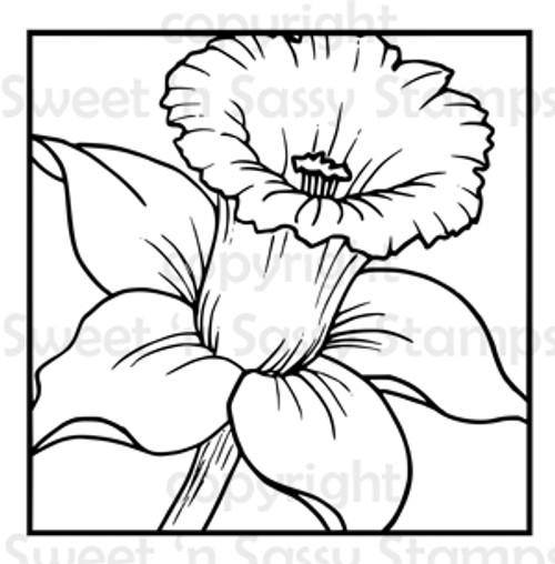 Daffodil Block Digital Stamp