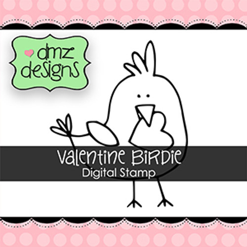 Valentine Birdie Digital Stamp