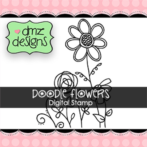 Doodle Flowers Digital Stamp
