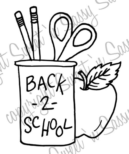 Back 2 School Pencil Holder Digi Stamp